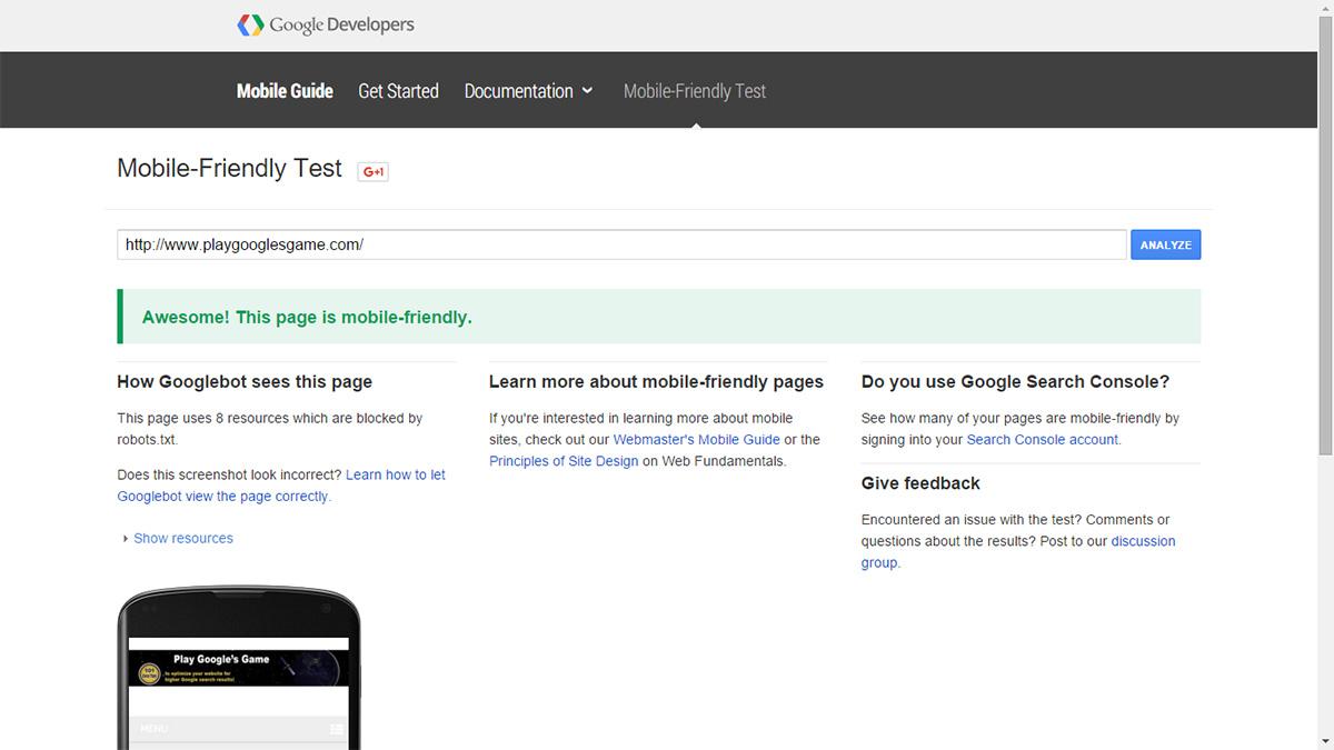 google mobilr friendly