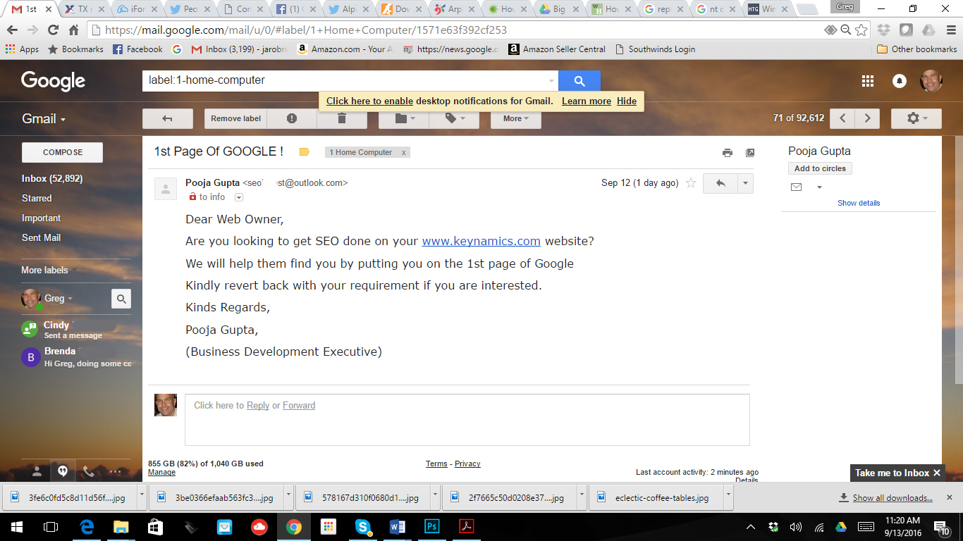 first page google email scam